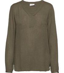 amber l/s blouse- min 2 blus långärmad grön kaffe
