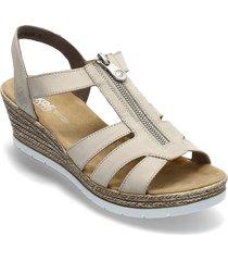 619c1-00 sandalette med klack espadrilles beige rieker