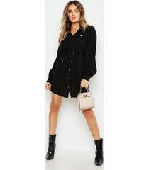 blouse jurk met utility zakken, zwart
