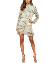 ax paris floral button front long sleeve dress