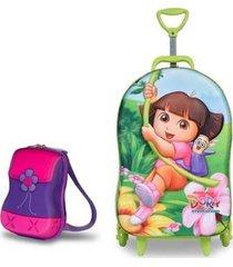 mochila escolar 3d com rodinhas e lancheira maxtoy dora aventureira feminina