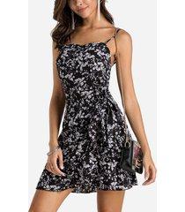 black square neck frill hem design calico mini dress