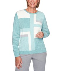 alfred dunner petite colorblocked chenille sweater