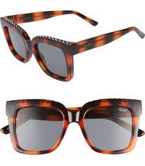women's quay australia icy 58mm square sunglasses - tortoise stud/ smoke