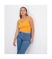 blusa regata cropped básica em algodão canelado | blue steel | amarelo | m