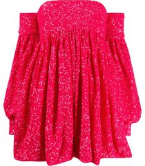 amen sequined off-the-shoulder cocktail dress - pink