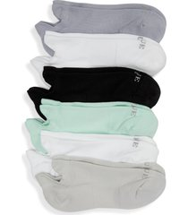women's hue 6-pack front & back tab liner socks, size one size - green