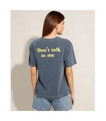 """t-shirt de algodão please"""" manga curta decote redondo mindset azul marinho"""""""