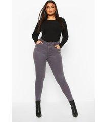 plus 5 pocket stretch high waist skinny jeans, grey