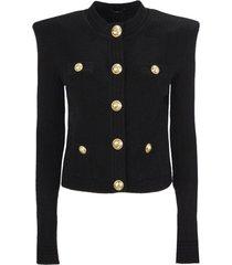 balmain black knit cardigan