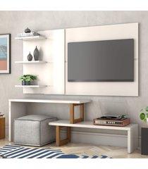 painel e rack para tv atreus off white amãªndoa casah - branco - dafiti