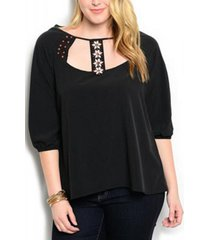 womens top plus size 1x 2x wapi solid black beaded embellished neck ¾ sleeves