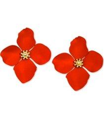 zenzii gold-tone painted metal flower stud earrings