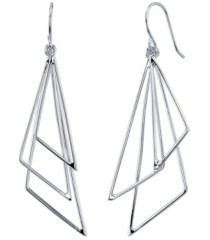 unwritten silver plated wire triple triangle drop earring