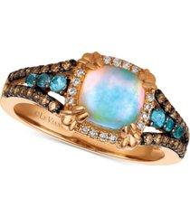 le vian chocolatier multi-gemstone (7/8 ct. t.w.) & diamond (1/4 ct. t.w.) ring in 14k rose gold