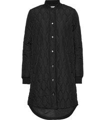 kashally quilted coat doorgestikte jas zwart kaffe