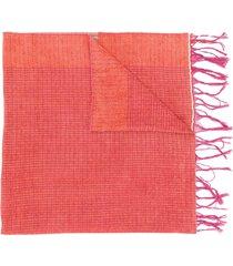forte forte colour block fringed scarf - orange