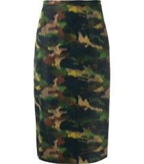 rochas camo print pencil skirt - green