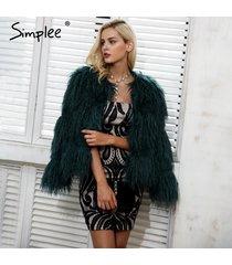 women warm long sleeve faux fur fluffy coat chic winter coat jacket hairy overco