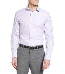 men's big & tall david donahue trim fit non-iron check dress shirt, size 18 - 34/35 - purple