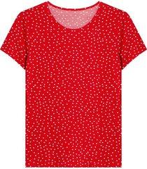 camiseta estampado pepas color rojo, talla l