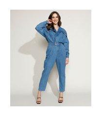 macacão jeans feminino mindset com transpasse e bolsos manga longa azul médio