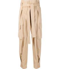 red valentino tie-waist cargo trousers - brown