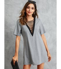 vestido de manga corta con cuello en v y escote en v gris de yoins