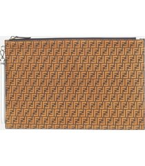 fendi flat pouch in leather with all-over ff motif