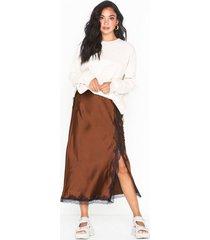 topshop lace trim bias skirt midikjolar