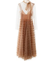 red valentino ruffled tulle dress with glitter polka dots