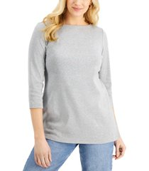karen scott 3/4-sleeve boat-neck tunic top, created for macy's