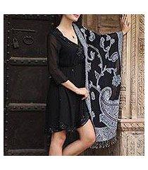 wool jamawar shawl, 'alluring lapis' (india)