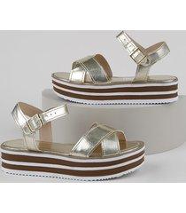 sandália feminina oneself flatform metalizada dourada