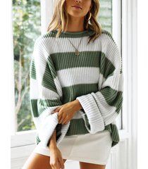 color block green stripe round neck long sleeves sweater
