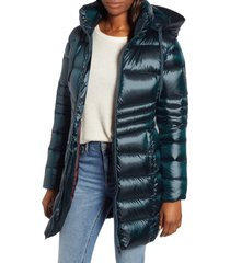 women's sam edelman hooded down coat, size large - blue/green