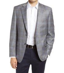 men's big & tall peter millar flynn deco plaid wool sport coat, size 52 r - grey
