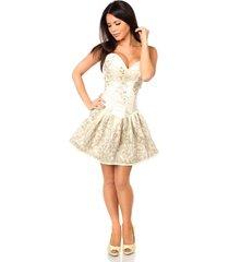 sexy elegant satin ivory floral embroidered steel boned short corset dress