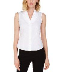 kasper cotton ruffled v-neck blouse