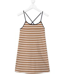 caramel tooting striped dress - brown
