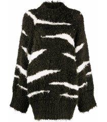 the attico zebra-stripe jumper dress