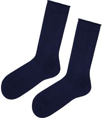 calzedonia - short cuffed cotton socks, no elastic, one size, blue, men