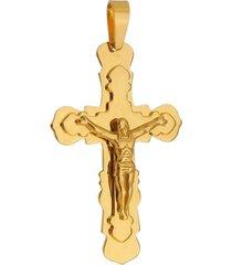pingente crucifixo tudo jóias de aço inox dourado