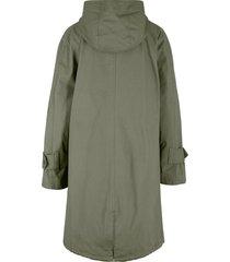 cappotto svasato in cotone con fodera fantasia e cappuccio (verde) - bpc bonprix collection