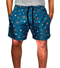 shorts praia ks estampado tactel com bolsos laterais 0386.26 azul