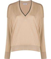 brunello cucinelli beaded-neck sweater - neutrals
