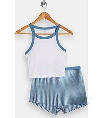 blue stripe shorts pajama set - blue