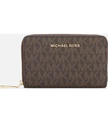michael michael kors women's jet set small zip around card case - brn/acorn