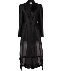 alexander mcqueen sheer overlay blazer - black