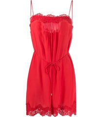 zimmermann lace detail playsuit - red